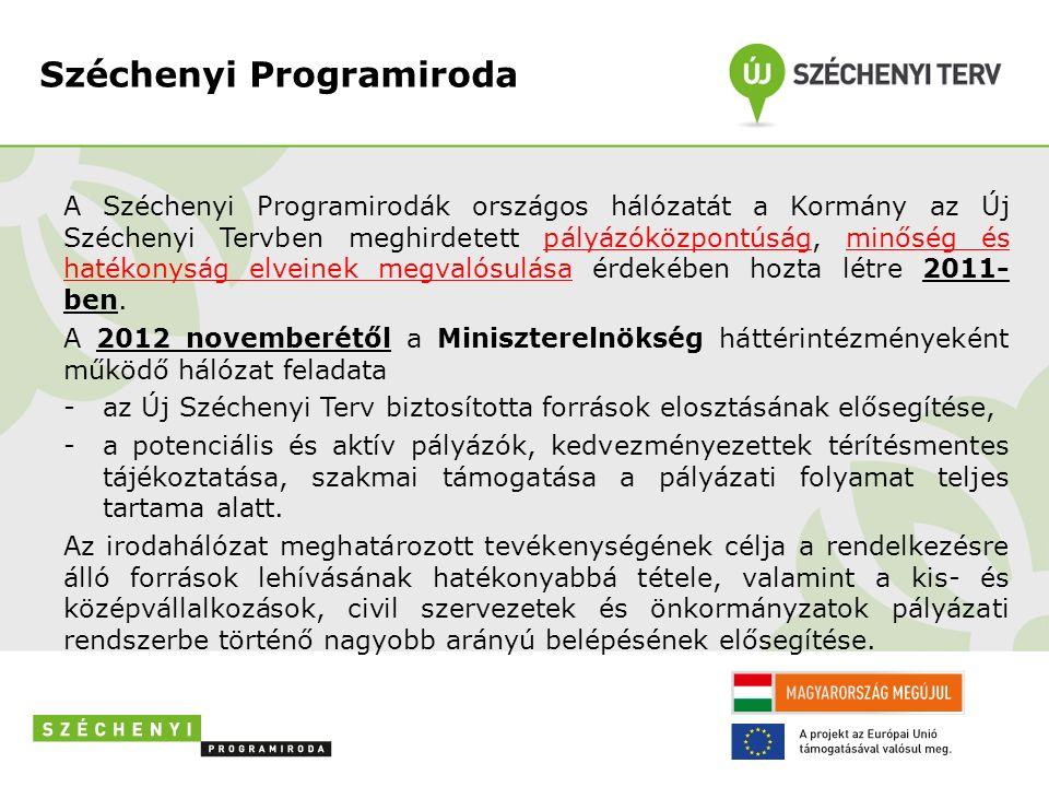 Széchenyi Programiroda A Széchenyi Programirodák országos hálózatát a Kormány az Új Széchenyi Tervben meghirdetett pályázóközpontúság, minőség és hatékonyság elveinek megvalósulása érdekében hozta létre 2011- ben.