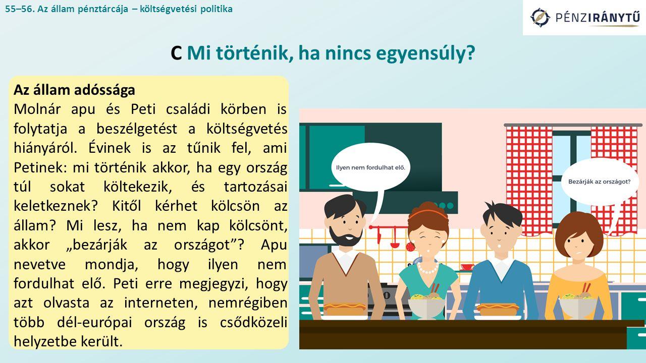 Az állam adóssága Molnár apu és Peti családi körben is folytatja a beszélgetést a költségvetés hiányáról. Évinek is az tűnik fel, ami Petinek: mi tört