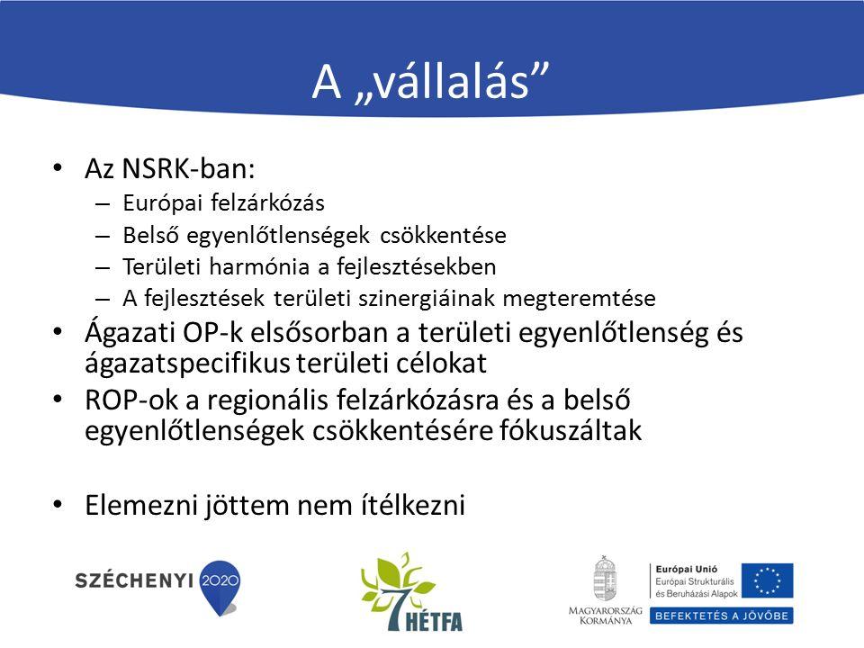 """A """"vállalás Az NSRK-ban: – Európai felzárkózás – Belső egyenlőtlenségek csökkentése – Területi harmónia a fejlesztésekben – A fejlesztések területi szinergiáinak megteremtése Ágazati OP-k elsősorban a területi egyenlőtlenség és ágazatspecifikus területi célokat ROP-ok a regionális felzárkózásra és a belső egyenlőtlenségek csökkentésére fókuszáltak Elemezni jöttem nem ítélkezni"""