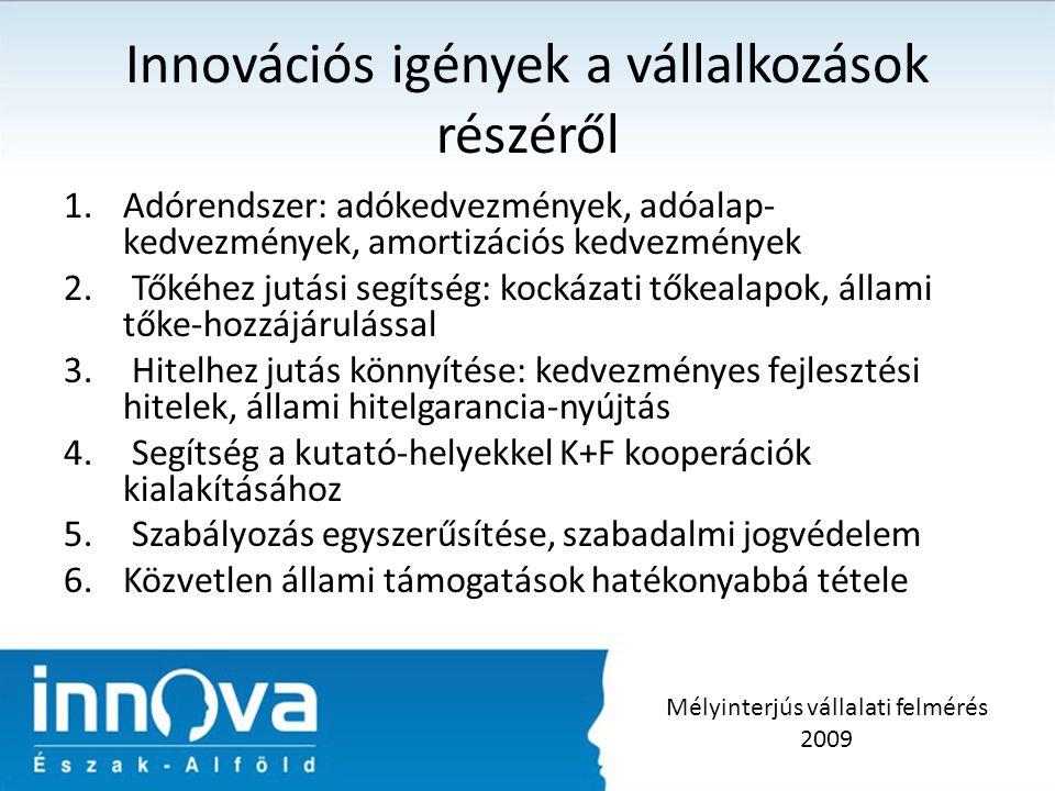Innovációs igények a vállalkozások részéről 1.Adórendszer: adókedvezmények, adóalap- kedvezmények, amortizációs kedvezmények 2.