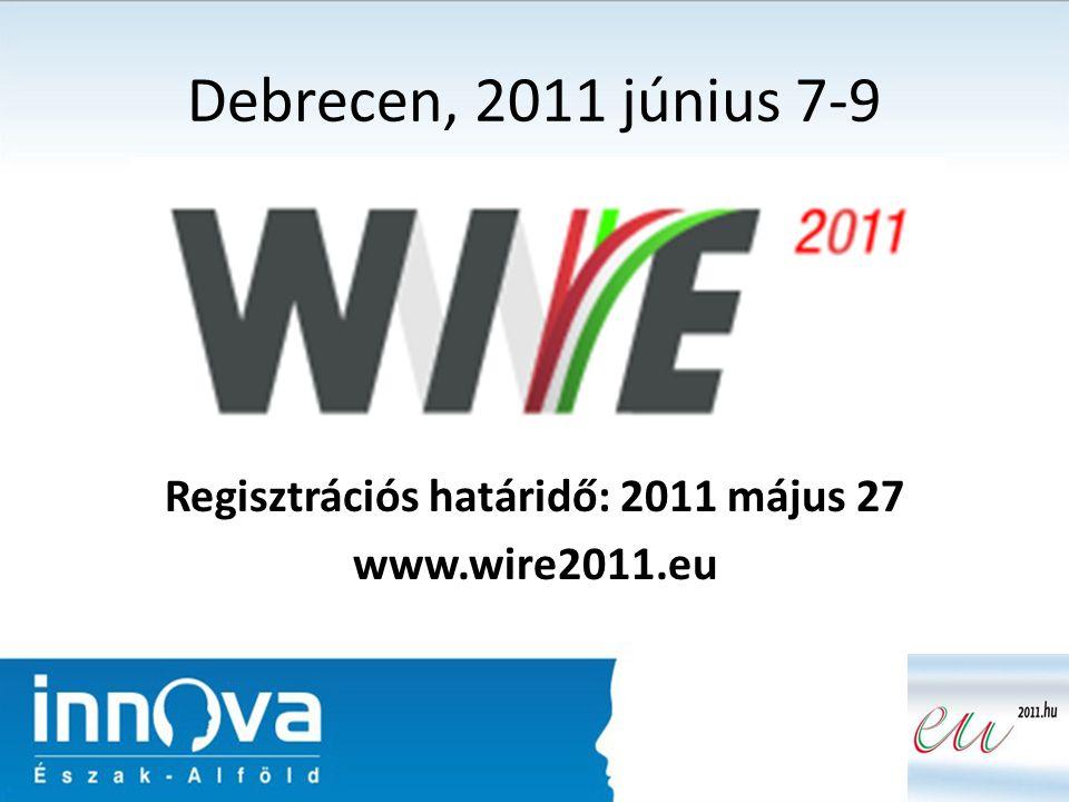 Debrecen, 2011 június 7-9 Regisztrációs határidő: 2011 május 27 www.wire2011.eu