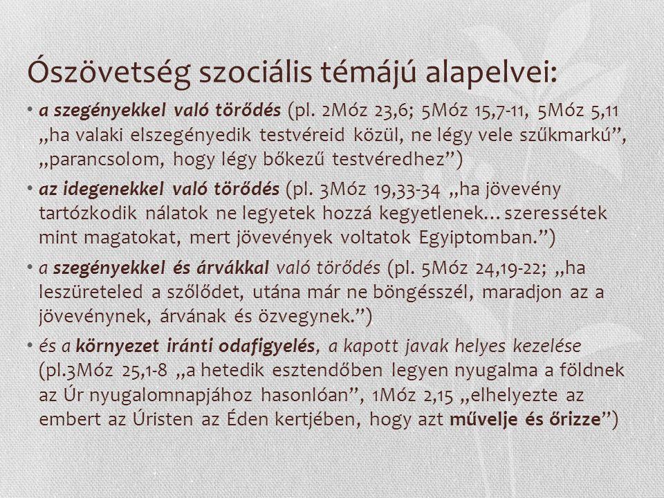 Ószövetség szociális témájú alapelvei: a szegényekkel való törődés (pl.