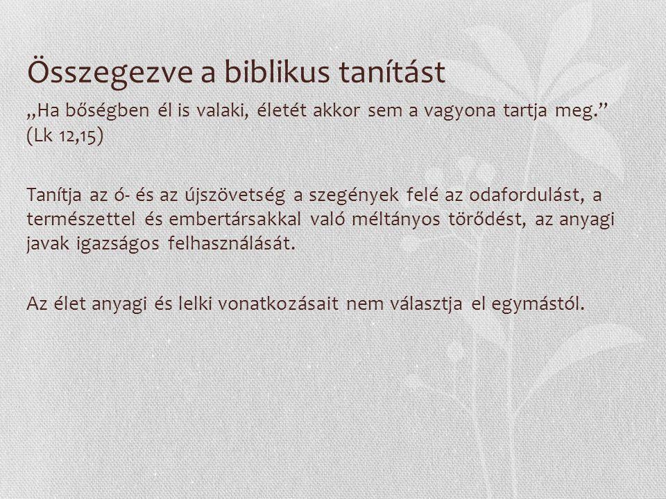 """Összegezve a biblikus tanítást """"Ha bőségben él is valaki, életét akkor sem a vagyona tartja meg. (Lk 12,15) Tanítja az ó- és az újszövetség a szegények felé az odafordulást, a természettel és embertársakkal való méltányos törődést, az anyagi javak igazságos felhasználását."""