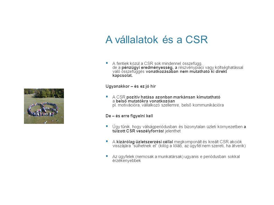 A vállalatok és a CSR  A fentiek közül a CSR sok mindennel összefügg, de a pénzügyi eredményesség, a részvénypiaci vagy költséghatással való összefüg