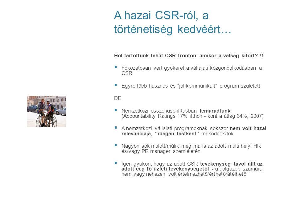 A hazai CSR-ról, a történetiség kedvéért… Hol tartottunk tehát CSR fronton, amikor a válság kitört? /1  Fokozatosan vert gyökeret a vállalati közgond
