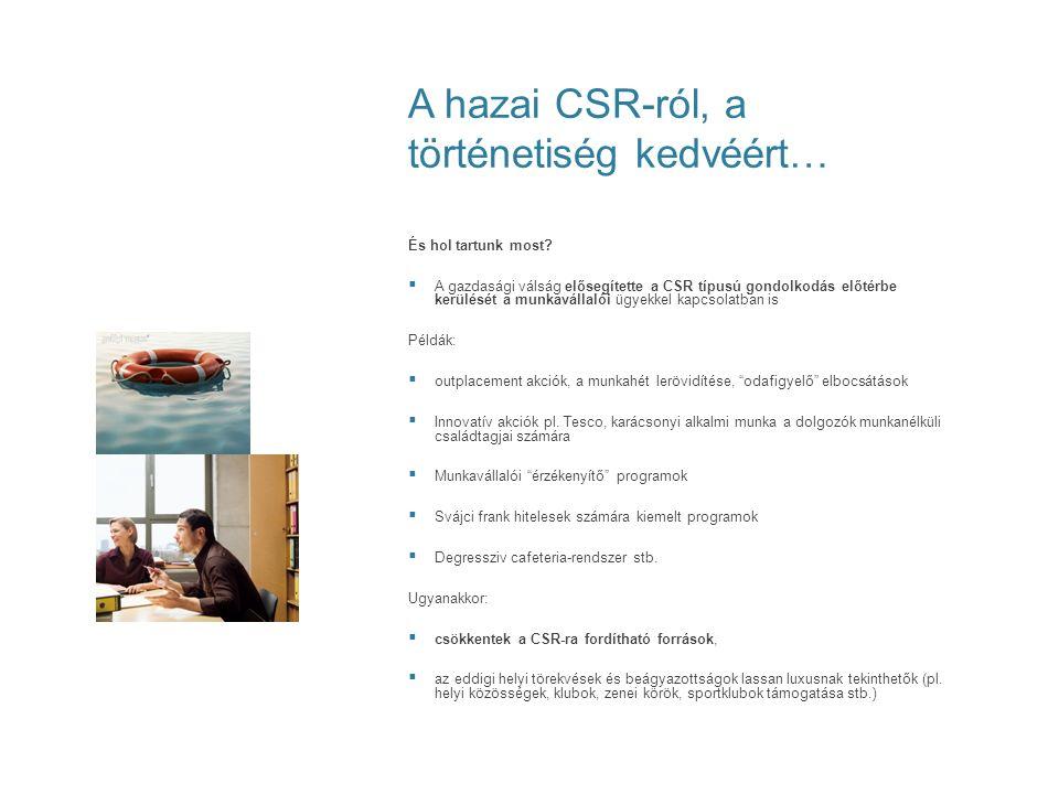 A vállalatok és a CSR Következtetések/2:  Ebben a CSR szemléletű implementációs folyamatban a vállalatoknak és intézményeknek érdemes lesz újraértelmezni folyamataikat és alapvető üzleti céljaikat – ÚJRA kell pozicionálniuk magukat, hisz e megváltozott üzleti környezetben az ügyfelek is másképp gondolkoznak (pl.