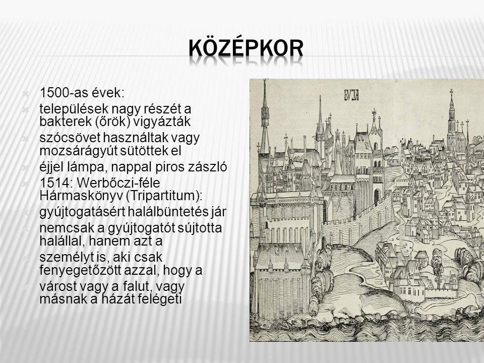  1500-as évek:  települések nagy részét a bakterek (őrök) vigyázták  szócsövet használtak vagy mozsárágyút sütöttek el  éjjel lámpa, nappal piros