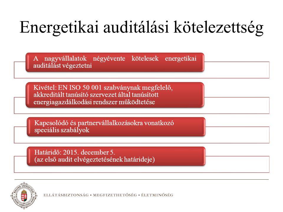 Energetikai auditálási kötelezettség A nagyvállalatok négyévente kötelesek energetikai auditálást végeztetni Kivétel: EN ISO 50 001 szabványnak megfelelő, akkreditált tanúsító szervezet által tanúsított energiagazdálkodási rendszer működtetése Kapcsolódó és partnervállalkozásokra vonatkozó speciális szabályok Határidő: 2015.