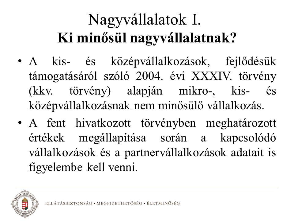 Nagyvállalatok I. Ki minősül nagyvállalatnak? A kis- és középvállalkozások, fejlődésük támogatásáról szóló 2004. évi XXXIV. törvény (kkv. törvény) ala