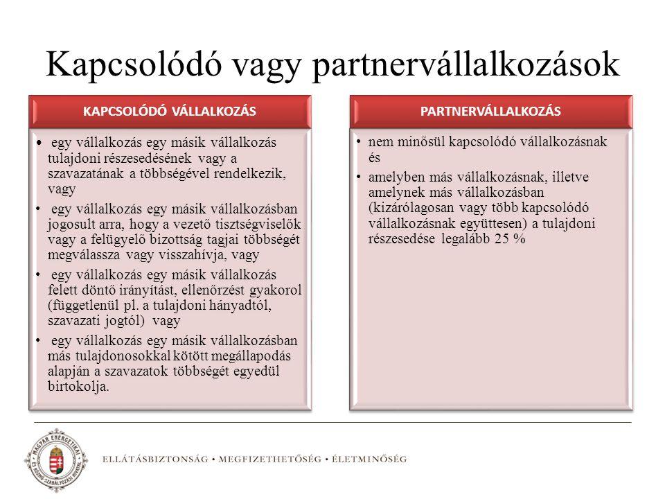 Kapcsolódó vagy partnervállalkozások KAPCSOLÓDÓ VÁLLALKOZÁS egy vállalkozás egy másik vállalkozás tulajdoni részesedésének vagy a szavazatának a többs