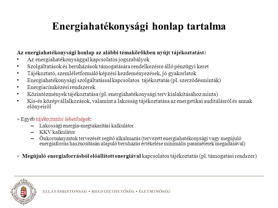 Energiahatékonysági honlap tartalma Az energiahatékonysági honlap az alábbi témakörökben nyújt tájékoztatást: Az energiahatékonysággal kapcsolatos jogszabályok Szolgáltatások és beruházások támogatására rendelkezésre álló pénzügyi keret Tájékoztató, szemléletformáló képzési kezdeményezések, jó gyakorlatok Energiahatékonysági szolgáltatással kapcsolatos tájékoztatás (pl.