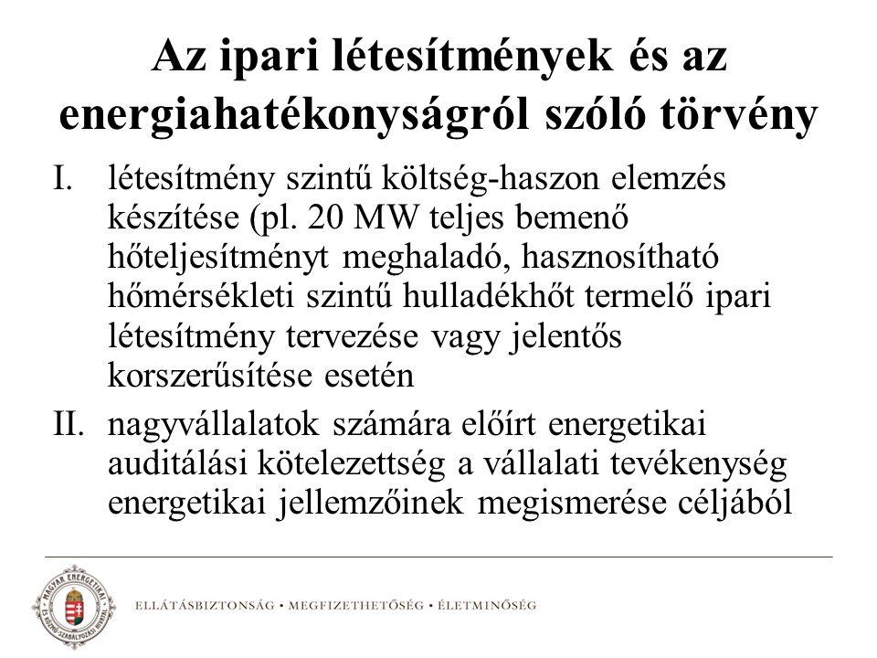 Az ipari létesítmények és az energiahatékonyságról szóló törvény I.létesítmény szintű költség-haszon elemzés készítése (pl. 20 MW teljes bemenő hőtelj