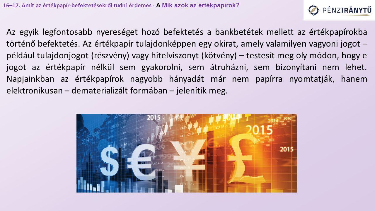 Az egyik legfontosabb nyereséget hozó befektetés a bankbetétek mellett az értékpapírokba történő befektetés.