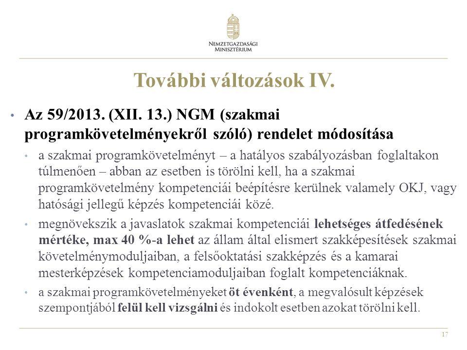 17 További változások IV. Az 59/2013. (XII.