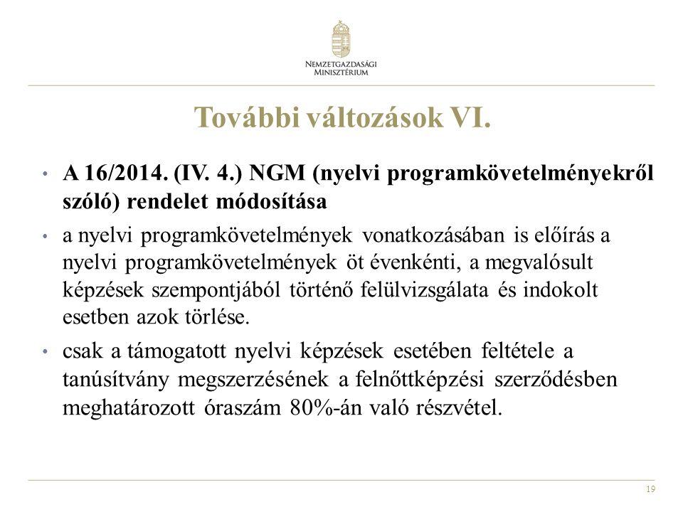 19 További változások VI. A 16/2014. (IV.