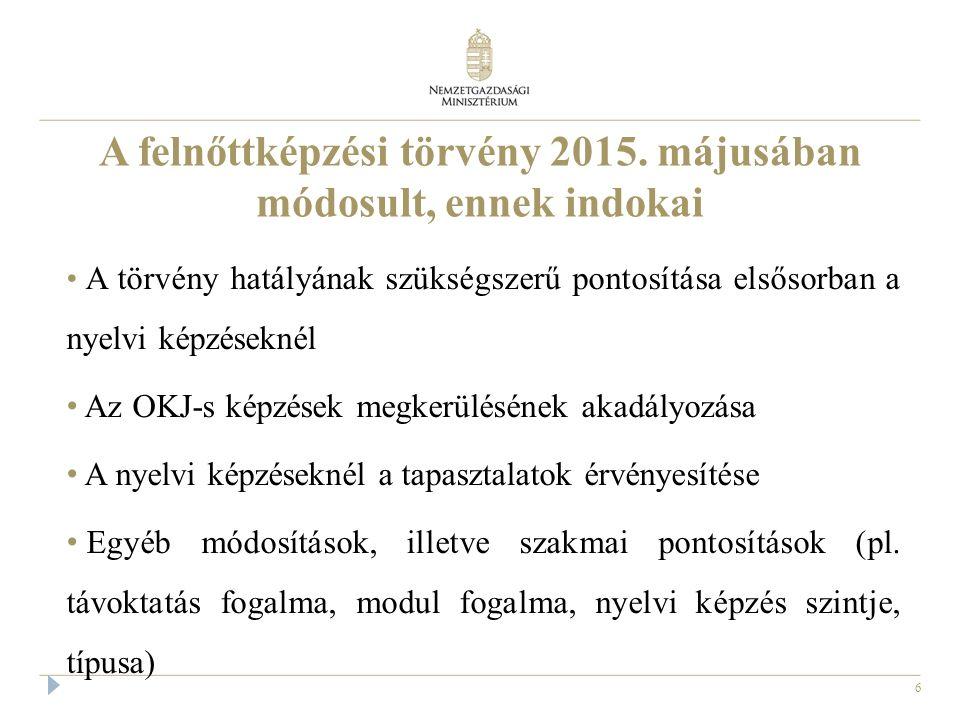 """7 A törvény hatályának szükségszerű módosítása A törvény hatálya minden képzést folytató intézményre kiterjed, ha OKJ szerinti, vagy """"annak látszó képzést folytat, vagy kíván végezni A nyelvi képzések esetében összhangba hoztuk a törvény szövegét és az NSZFH közleményt (lásd később) A törvény nem terjed ki a szociális ágazat miniszteri rendeletekben szabályozott képzéseire"""