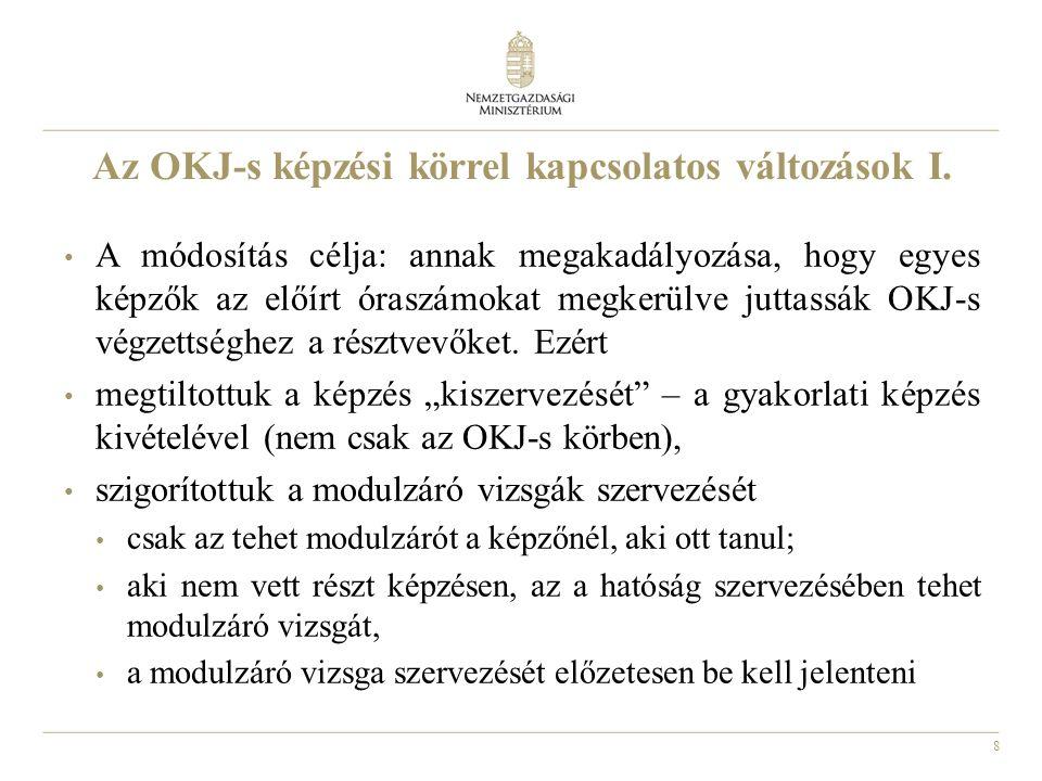8 Az OKJ-s képzési körrel kapcsolatos változások I.