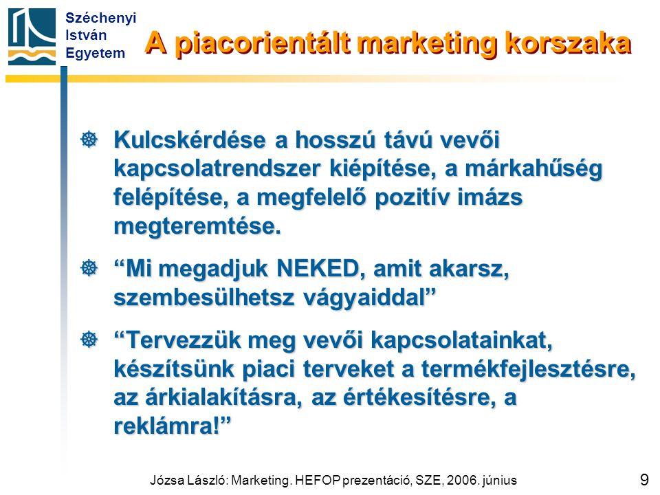 Széchenyi István Egyetem Józsa László: Marketing. HEFOP prezentáció, SZE, 2006. június 9 A piacorientált marketing korszaka  Kulcskérdése a hosszú tá
