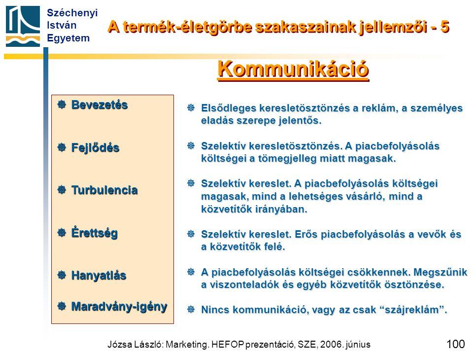 Széchenyi István Egyetem Józsa László: Marketing. HEFOP prezentáció, SZE, 2006. június 100  Elsődleges keresletösztönzés a reklám, a személyes eladás