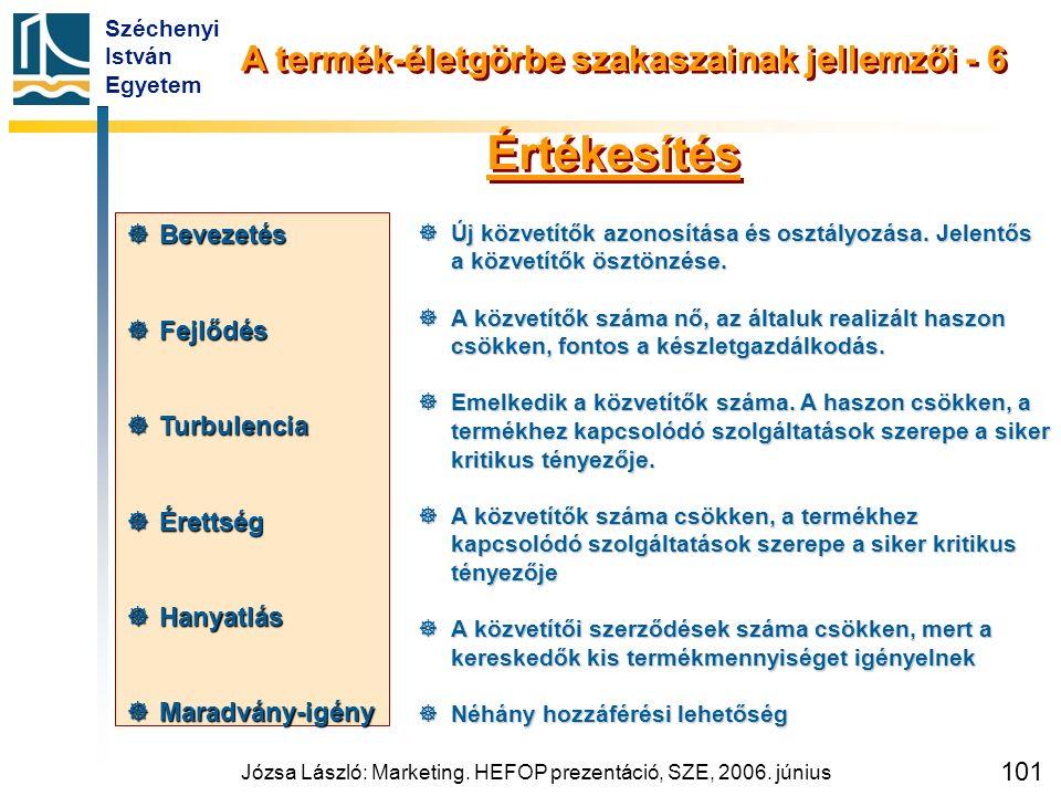 Széchenyi István Egyetem Józsa László: Marketing. HEFOP prezentáció, SZE, 2006. június 101  Új közvetítők azonosítása és osztályozása. Jelentős a köz