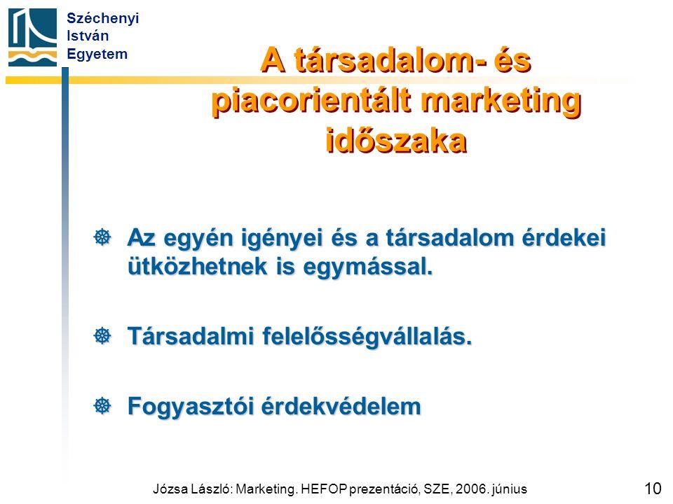 Széchenyi István Egyetem Józsa László: Marketing. HEFOP prezentáció, SZE, 2006. június 10 A társadalom- és piacorientált marketing időszaka  Az egyén