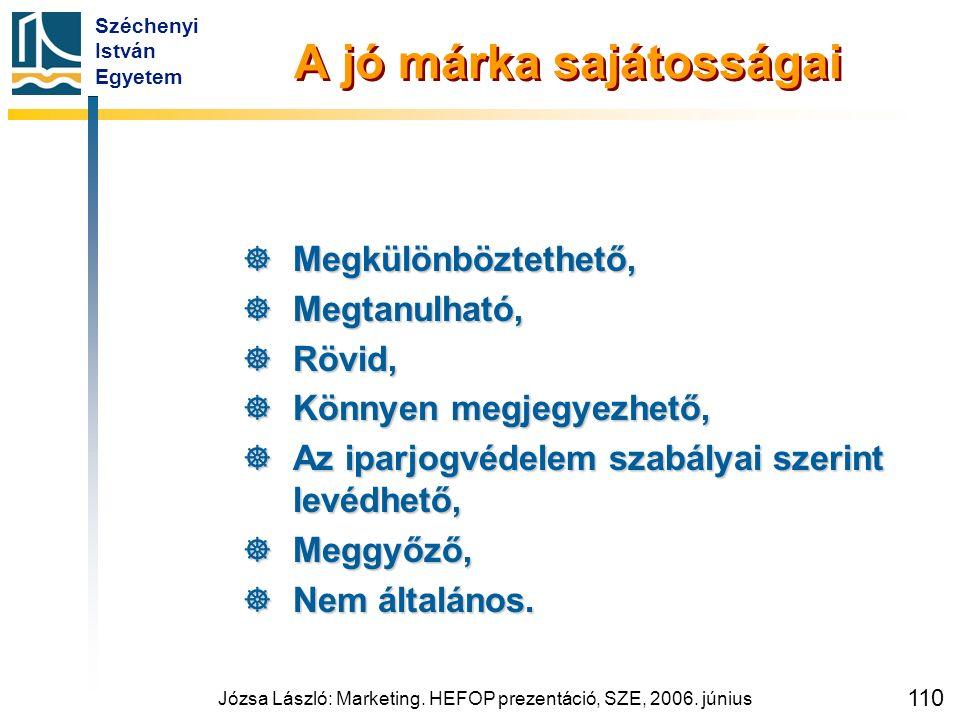 Széchenyi István Egyetem Józsa László: Marketing. HEFOP prezentáció, SZE, 2006. június 110 A jó márka sajátosságai  Megkülönböztethető,  Megtanulhat