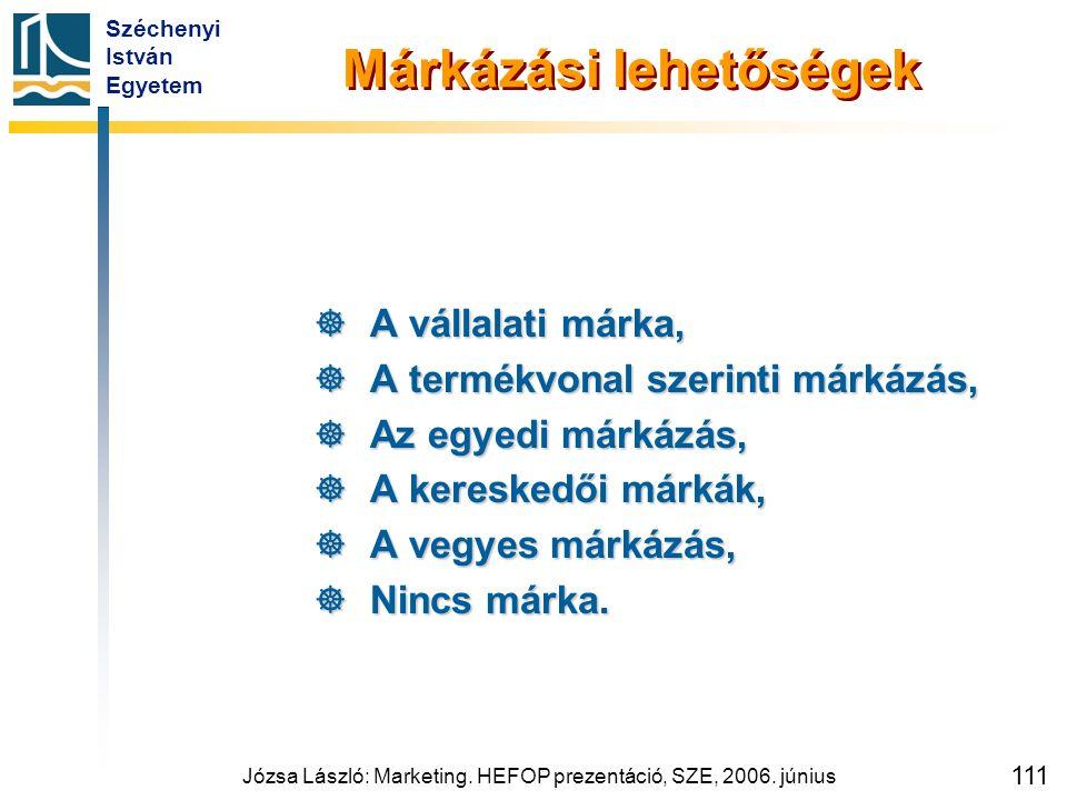 Széchenyi István Egyetem Józsa László: Marketing. HEFOP prezentáció, SZE, 2006. június 111 Márkázási lehetőségek  A vállalati márka,  A termékvonal