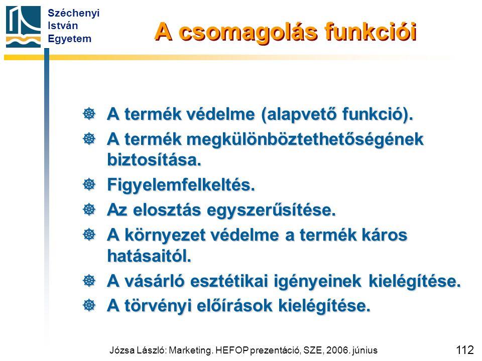 Széchenyi István Egyetem Józsa László: Marketing. HEFOP prezentáció, SZE, 2006. június 112 A csomagolás funkciói  A termék védelme (alapvető funkció)