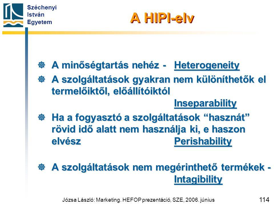 Széchenyi István Egyetem Józsa László: Marketing. HEFOP prezentáció, SZE, 2006. június 114 A HIPI-elv  A minőségtartás nehéz -Heterogeneity  A szolg