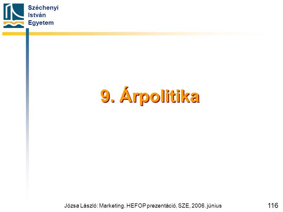 Széchenyi István Egyetem Józsa László: Marketing. HEFOP prezentáció, SZE, 2006. június 116 9. Árpolitika