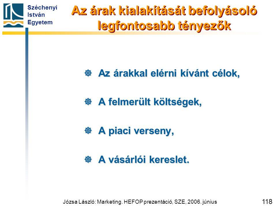 Széchenyi István Egyetem Józsa László: Marketing. HEFOP prezentáció, SZE, 2006. június 118 Az árak kialakítását befolyásoló legfontosabb tényezők  Az