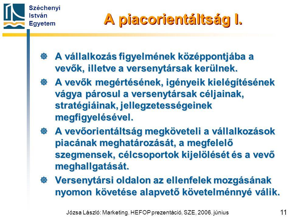 Széchenyi István Egyetem Józsa László: Marketing. HEFOP prezentáció, SZE, 2006. június 11 A piacorientáltság I.  A vállalkozás figyelmének középpontj