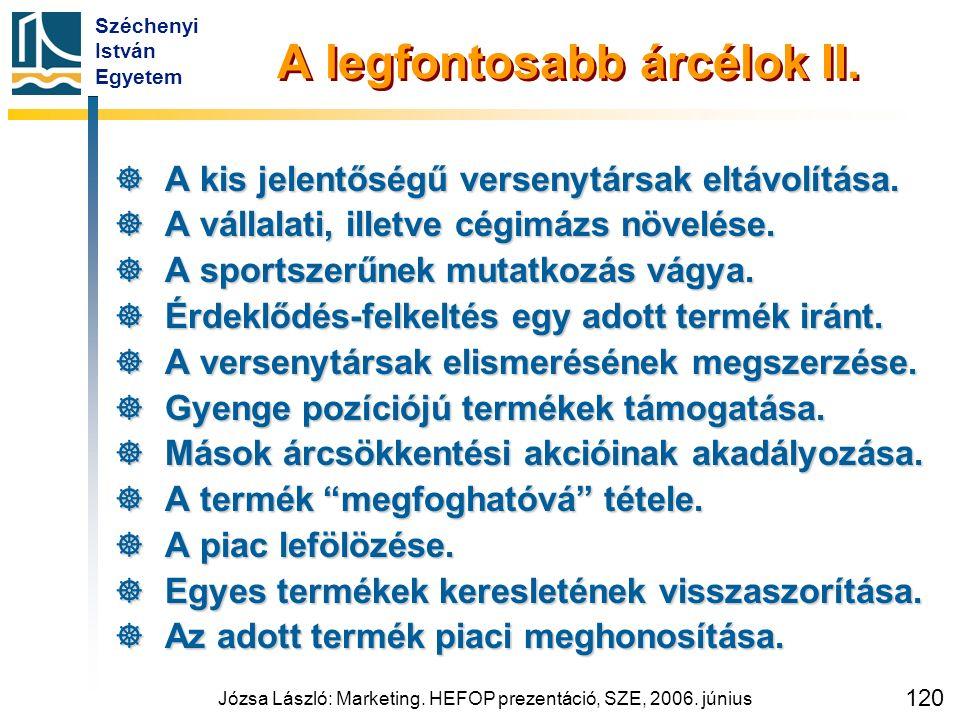 Széchenyi István Egyetem Józsa László: Marketing. HEFOP prezentáció, SZE, 2006. június 120 A legfontosabb árcélok II.  A kis jelentőségű versenytársa