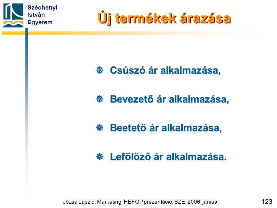 Széchenyi István Egyetem Józsa László: Marketing. HEFOP prezentáció, SZE, 2006. június 123 Új termékek árazása  Csúszó ár alkalmazása,  Bevezető ár