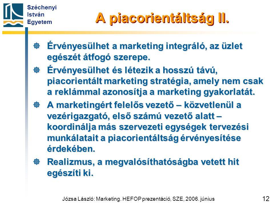 Széchenyi István Egyetem Józsa László: Marketing. HEFOP prezentáció, SZE, 2006. június 12 A piacorientáltság II.  Érvényesülhet a marketing integráló