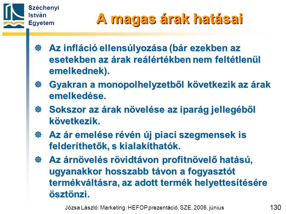 Széchenyi István Egyetem Józsa László: Marketing. HEFOP prezentáció, SZE, 2006. június 130 A magas árak hatásai  Az infláció ellensúlyozása (bár ezek