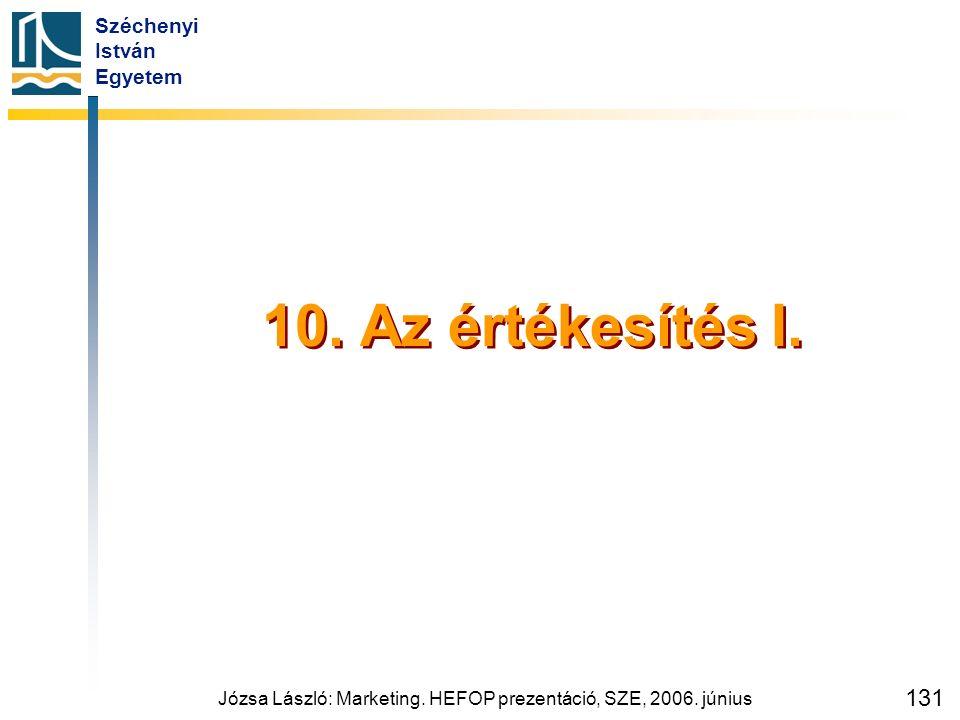 Széchenyi István Egyetem Józsa László: Marketing. HEFOP prezentáció, SZE, 2006. június 131 10. Az értékesítés I.