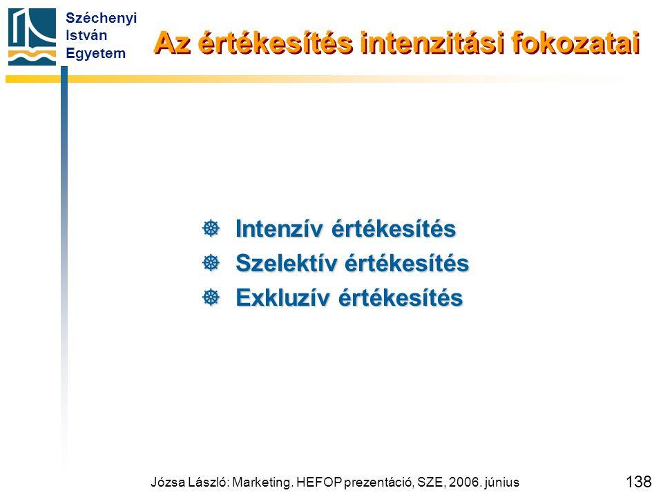 Széchenyi István Egyetem Józsa László: Marketing. HEFOP prezentáció, SZE, 2006. június 138 Az értékesítés intenzitási fokozatai  Intenzív értékesítés