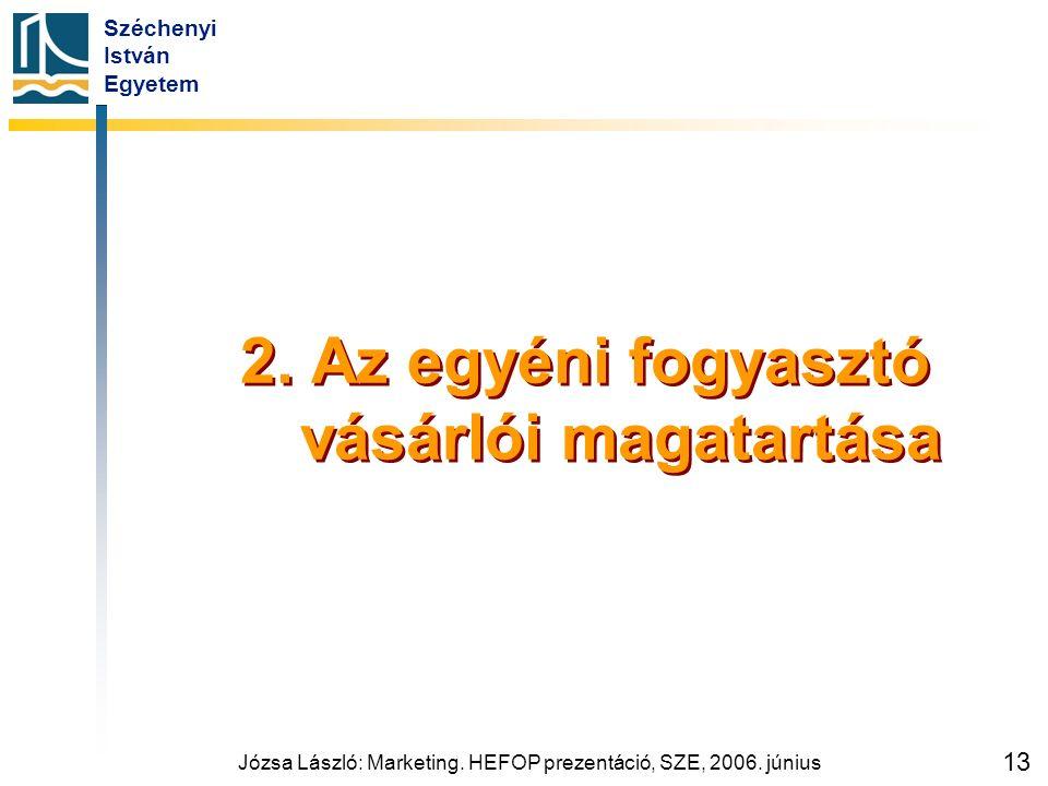 Széchenyi István Egyetem Józsa László: Marketing. HEFOP prezentáció, SZE, 2006. június 13 2. Az egyéni fogyasztó vásárlói magatartása