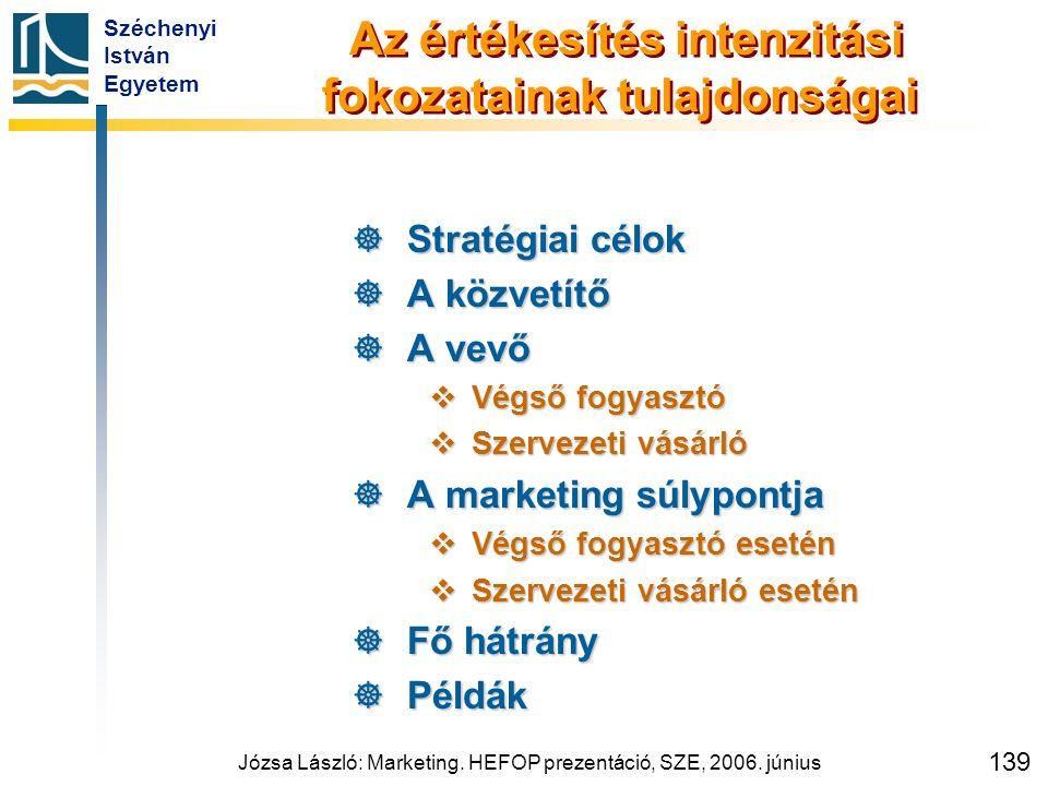 Széchenyi István Egyetem Józsa László: Marketing. HEFOP prezentáció, SZE, 2006. június 139 Az értékesítés intenzitási fokozatainak tulajdonságai  Str