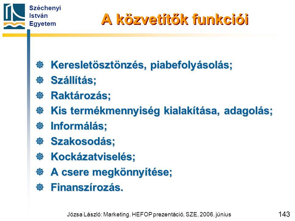 Széchenyi István Egyetem Józsa László: Marketing. HEFOP prezentáció, SZE, 2006. június 143 A közvetítők funkciói  Keresletösztönzés, piabefolyásolás;
