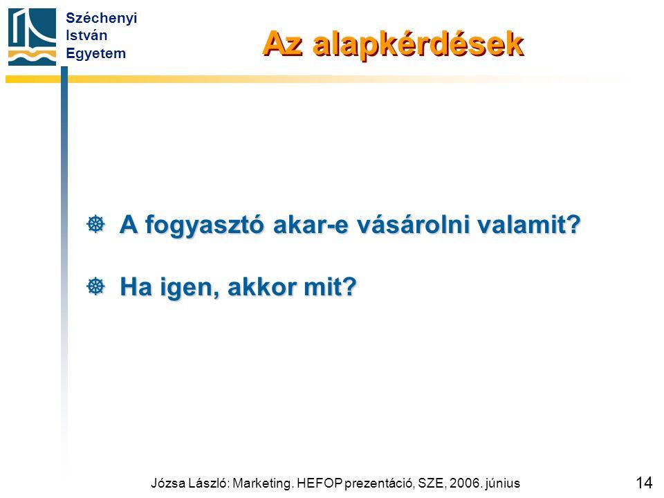 Széchenyi István Egyetem Józsa László: Marketing. HEFOP prezentáció, SZE, 2006. június 14 Az alapkérdések  A fogyasztó akar-e vásárolni valamit?  Ha
