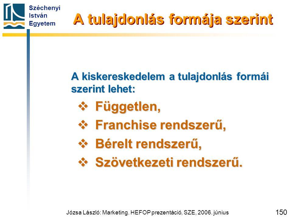 Széchenyi István Egyetem Józsa László: Marketing. HEFOP prezentáció, SZE, 2006. június 150 A tulajdonlás formája szerint A kiskereskedelem a tulajdonl
