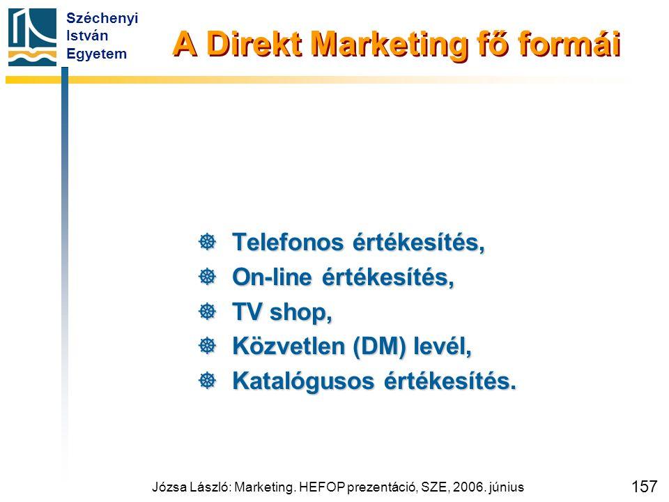 Széchenyi István Egyetem Józsa László: Marketing. HEFOP prezentáció, SZE, 2006. június 157 A Direkt Marketing fő formái  Telefonos értékesítés,  On-