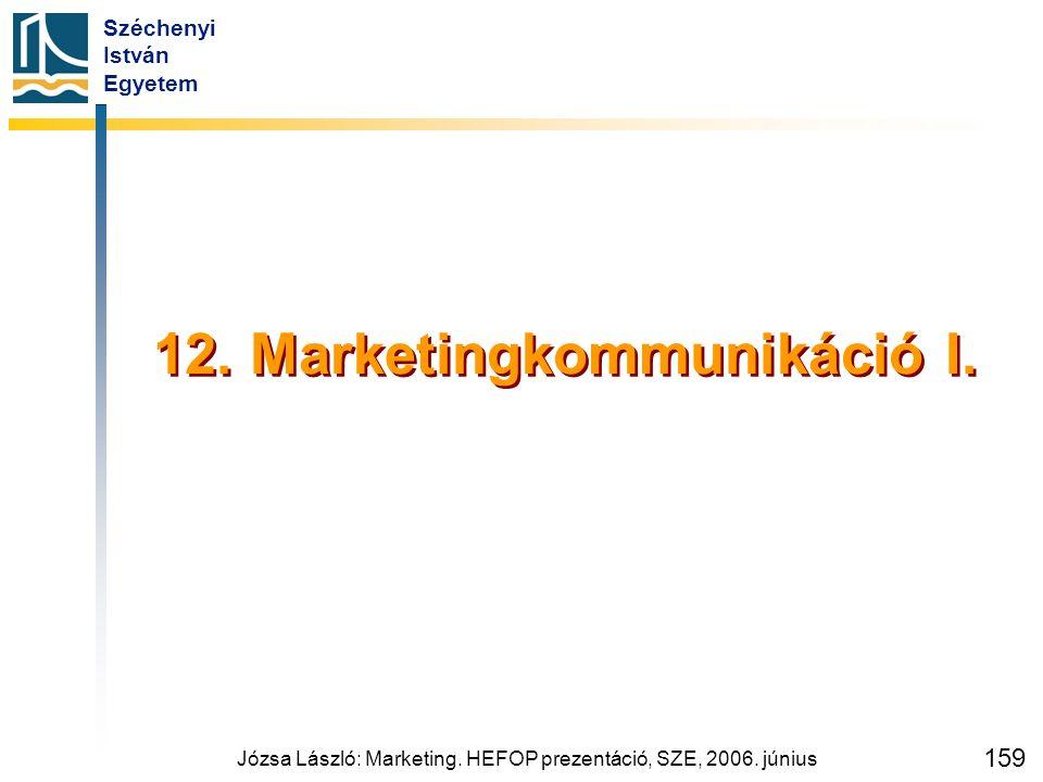 Széchenyi István Egyetem Józsa László: Marketing. HEFOP prezentáció, SZE, 2006. június 159 12. Marketingkommunikáció I.