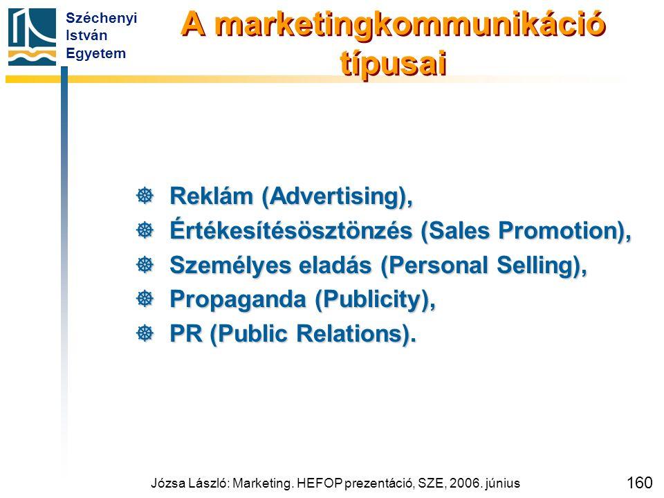 Széchenyi István Egyetem Józsa László: Marketing. HEFOP prezentáció, SZE, 2006. június 160 A marketingkommunikáció típusai  Reklám (Advertising),  É