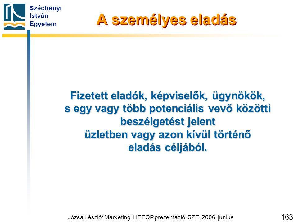 Széchenyi István Egyetem Józsa László: Marketing. HEFOP prezentáció, SZE, 2006. június 163 A személyes eladás Fizetett eladók, képviselők, ügynökök, s