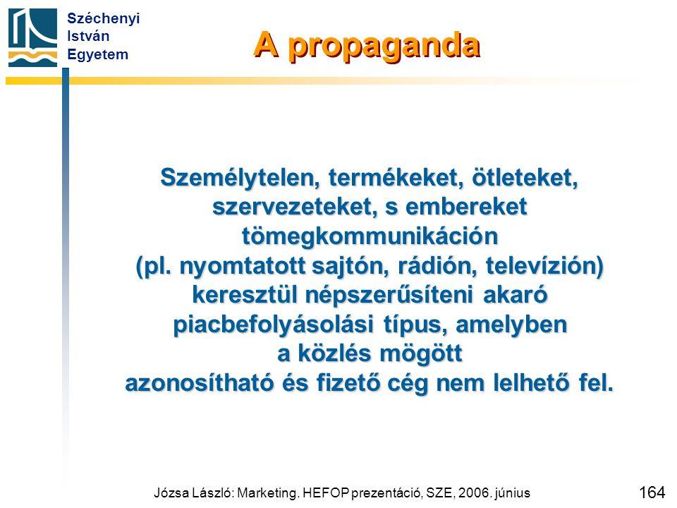 Széchenyi István Egyetem Józsa László: Marketing. HEFOP prezentáció, SZE, 2006. június 164 A propaganda Személytelen, termékeket, ötleteket, szervezet