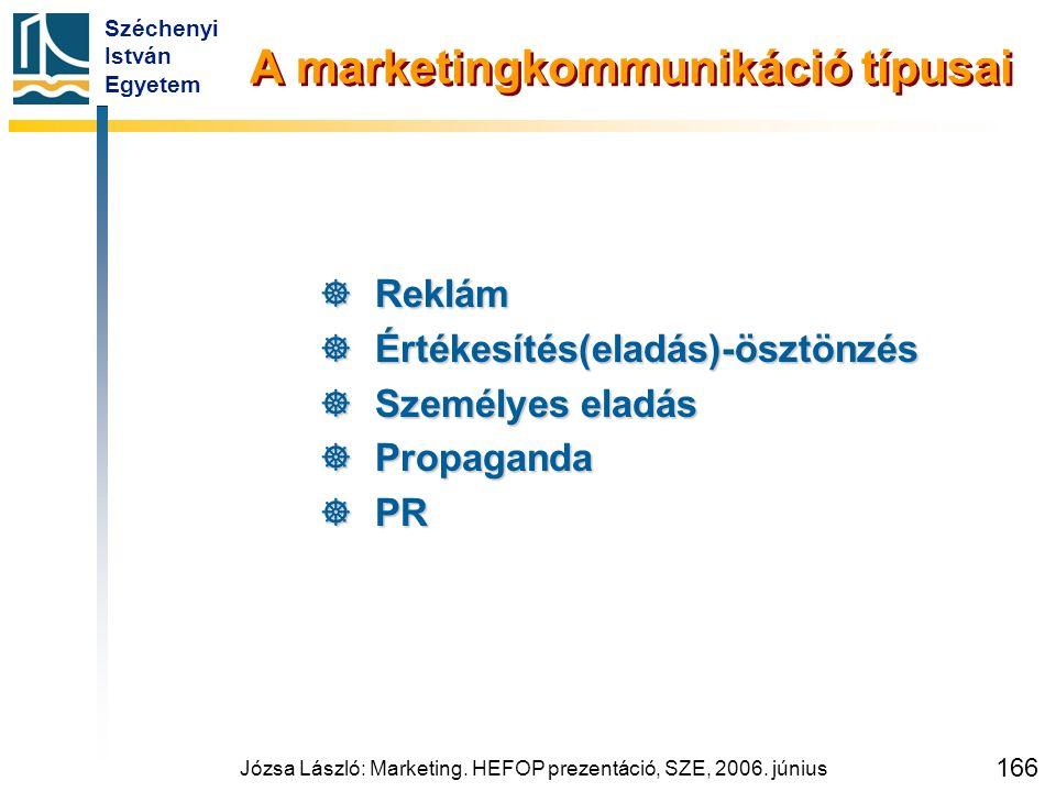 Széchenyi István Egyetem Józsa László: Marketing. HEFOP prezentáció, SZE, 2006. június 166 A marketingkommunikáció típusai  Reklám  Értékesítés(elad