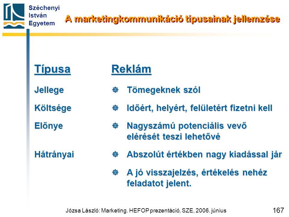 Széchenyi István Egyetem Józsa László: Marketing. HEFOP prezentáció, SZE, 2006. június 167 A marketingkommunikáció típusainak jellemzése TípusaJellege